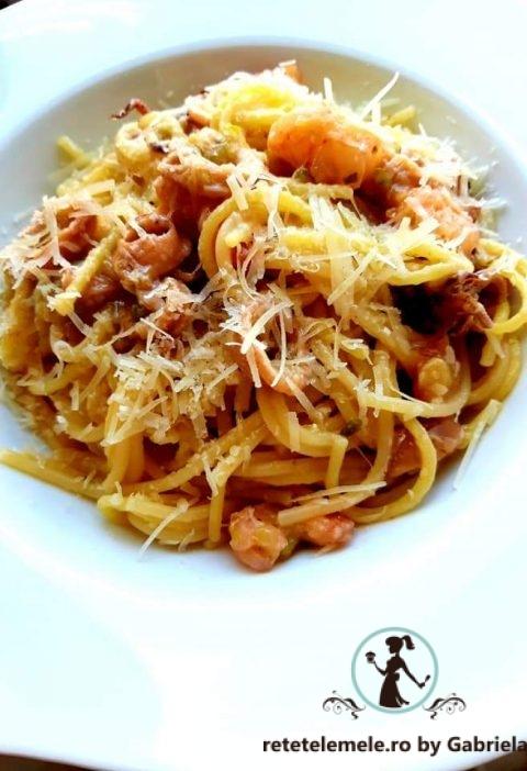 Spaghete cu dovlecel și calamar ( sau creveți ) 12